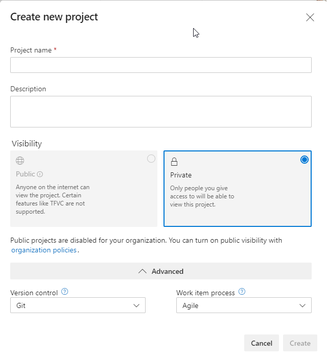 Azure Artifacts - Create new Project