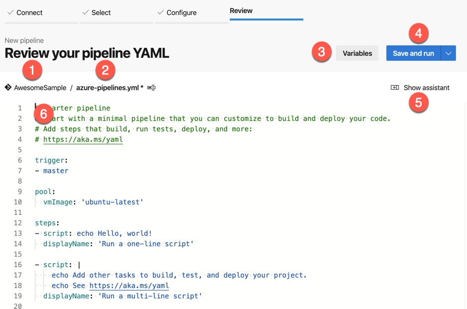 Build and Sign - Create Pipeline Wizard - Annotated Editor