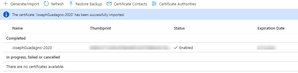 Setup Code Signing Certificates - Key Vault Successfully Imported Certificate