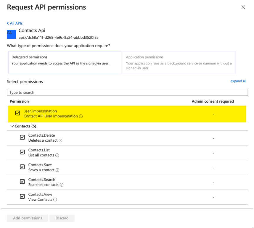Connecting to a Protected API - Requesting Permissions