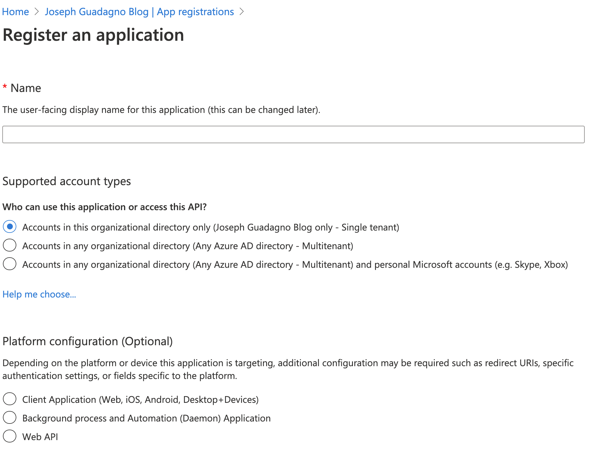 Azure Active Directory - Register Application
