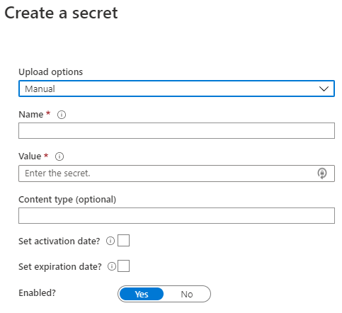 Azure Key Vault - Create a Secret